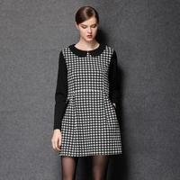 2014 European and American fashion big yards ladies fashion wild Hitz Houndstooth Dress
