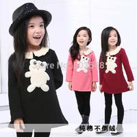 2014 Autumn Girls Cotton Dress Children Baby Cartoon Bear Design Long Sleeve Princess Dress Kids Clothing Free Shipping 5 PCS