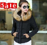 2014 New Fashion Ladies down short design coat Winter Large Fur jacket Outerwear Women down jacket parka YS8718