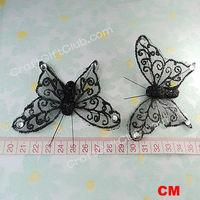 12 Black Organza Sheer Artifitial Butterfly Craft Wedding Party Favor Supply Craft Scrapbooking 8cm
