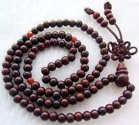 Wholesale Cheap 8mm Tibetan Buddhist 108 wood Prayer Bead Mala Necklace/ Free Shipping