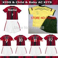 AC Milan EL SHAARAWY BALOTELLI MONTOLIVO KAKA children jersey 14/15 AC Milan kids soccer home away boy football uniform kits