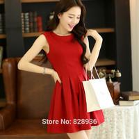 Women Ladies' Red Dress Sleeveless Slim Dress 2014 New Fashion Tank Dress Pleated Dress Korean Style