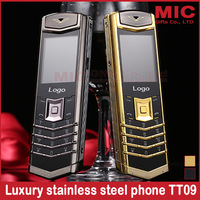 2014 new bar Luxury long standby mutiple languages brand Stainless steel metal Quad band Mobile phone Russian French Greek TT09