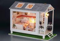 """Free Shipping Handmade Hobby Wooden DIY Dollhouse Miniature """" Crystal Bay Chalet """" 3D Assembling Doll House Casas de Madeira"""