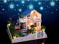 "Free Shipping 2014 New Model Handmade Hobby Wooden DIY Dollhouse Miniature Doll House with Furniture Light ""Romantic Star Villa"""