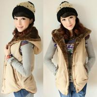 2014 autumn and winter cotton vest female casual  vest plus velvet  warm Hooded vest wholesale