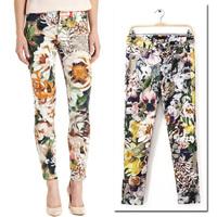 New Vintage Ethnic Fashion Women Multicolor Floral Print Casual Elastic Cotton Trousers Pants Legging