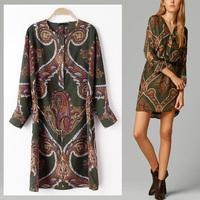 2014 Fashion Women's Vintage Trendy Garden Style Ethnic Floral Totem Printing Loose O-neck Dress