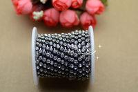 Free shipment Fashion handicrafts 3.6mm Crystal  rhinestone Gun Black chain  for sewing on
