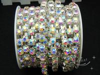 Free shipment Fashion handicrafts 8mm Crysta AB l rhinestone chain silver for sewing on (s38)