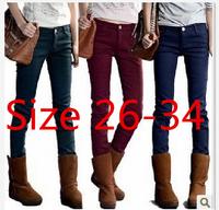 New Plus Size 2014 Winter Women Jeans Solid Color Warm Thicken Fleeces Pencil Pants Mid Waist Elastic denim Boots trousers
