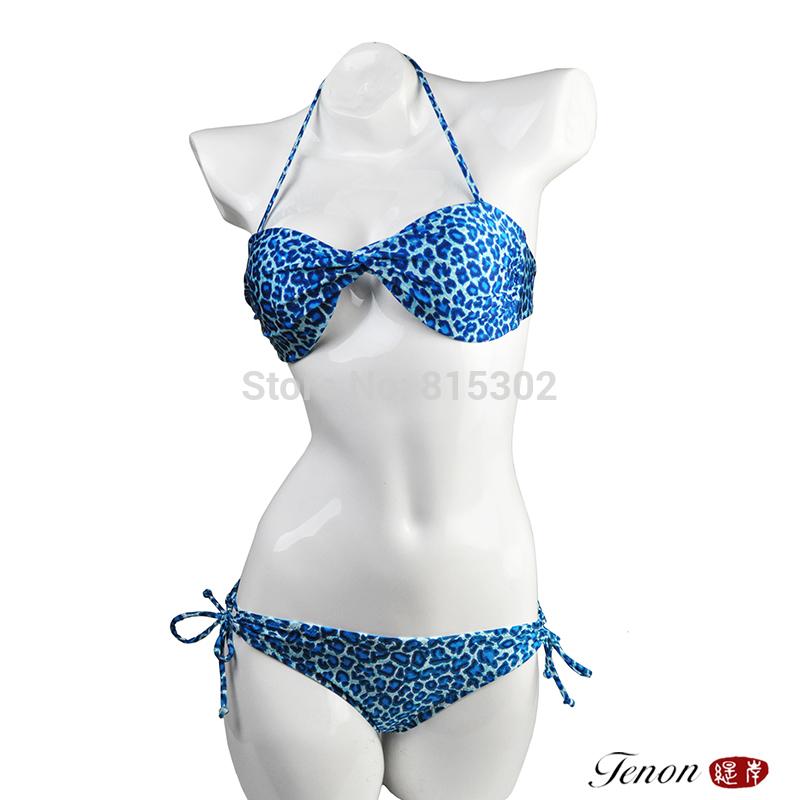 high quality women beachwear sexy gift leopard three ponited bikini set swimwear sexy lingerie swimsuits Ladies swimwear blue(China (Mainland))