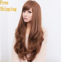 newest beautiful girl lady female blonde hair wigs popular women synthetic cosplay wig long curly brown wig