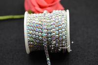SS18  4.3mm  Fancy Dress Crystal AB Rhinestone trimming close chain silver Cake Ribbon Trim Garment Accessories