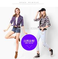 2014 Fall New 100% cotton women's wear Mao Gezi Autumn female models female long-sleeved shirt cotton shirt