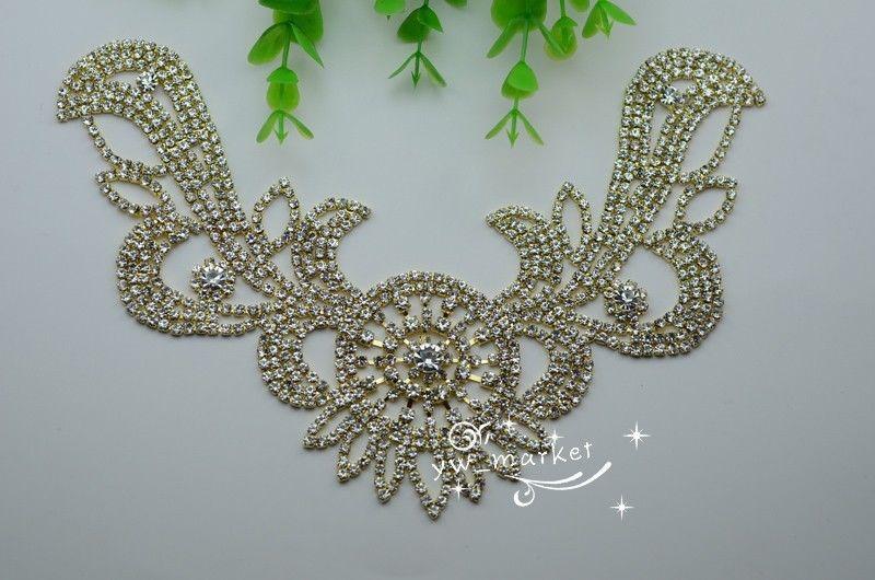 Free shipment Costume Wedding Dress crystal in golden Rhinestone Applique Garment Accessories(China (Mainland))