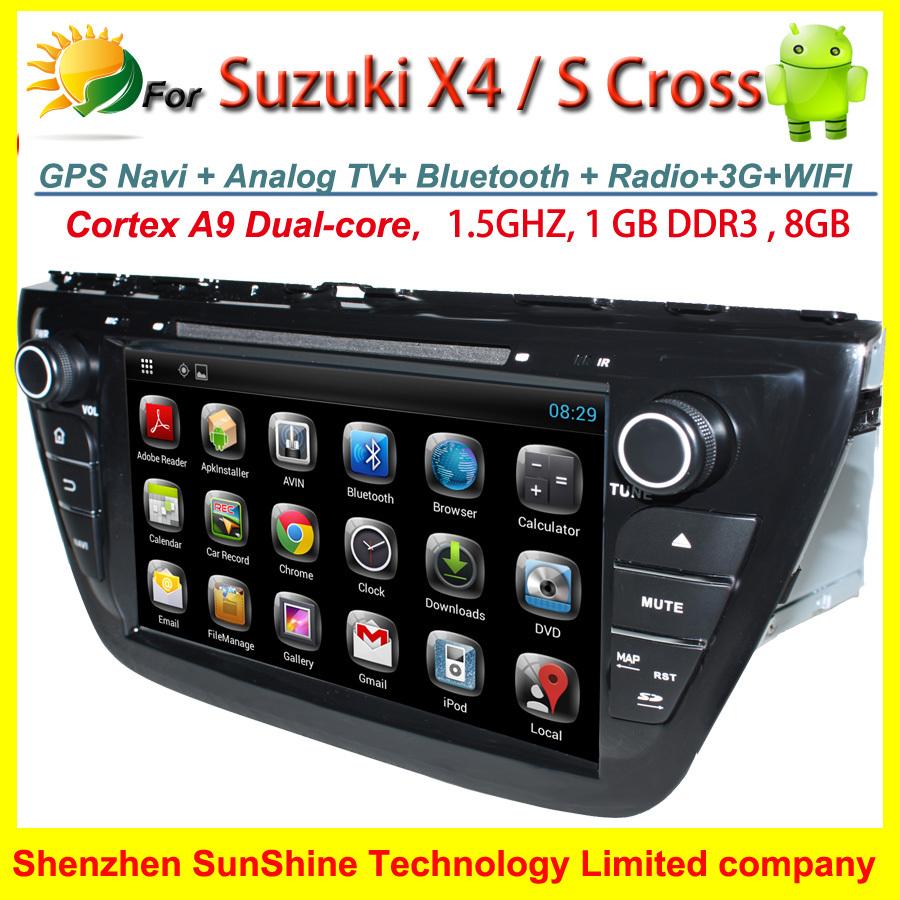 2 din car dvd Suzuki SX4 Android 4.2.2 car radio gps Navigation TV 3G WIFI Bluetooth SWC 8 inch car PC S cross 2013 2014(China (Mainland))