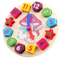 Hot Selling!Kids Childrens Toys Wooden Digital Clock Geometry Stacking Blocks Education NewFree&Drop Shipping