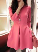 top sale new Europe fashion brand design vestidos 2014 autumn casual top grade splice lace sexy slim thick women dress fw-320
