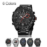 WEIDE Mens Watches 2 Time Zone Analog Digital Multifunction Waterproof Outdoor Casual Sports Watch For Men Full Steel Wristwatch