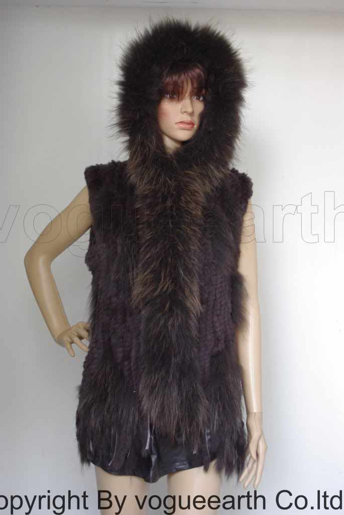 A0675A new women lady real raccoon trim knit rabbit fur dark brown hooded vest/waistcoat/jacket(Good quality)Thick Wholesale(China (Mainland))