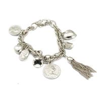 Antique silver plated pulseiras feminias women statement coin love heart pendants tassel bracelet bangle 2014new free shipping