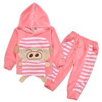 Top Quality Cartoon Pig Baby Hoodies Sets for Unisex Infants Homedress Outdoor Tops & Pant Baby Sweatshirts Sweater Suit fleeces