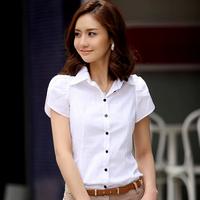 Ladylike Style White Work Button Shirts 100% Cotton Short Sleeve Bodycon Pure Color Elegant Blouse Blusa Com Estampa 8825