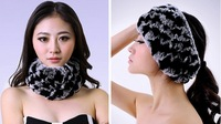 BG30442 Genuine Rex Rabbit Fur Headband Wholesale Retail Real Fur Winter Warm Headband