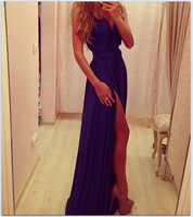 2014 latest women purple chiffon dress vest maxi dress sexy nightclub ladies vestidos largos OM157