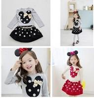 Top On top wholesale 2014 Girls fahsion round neck cartton Princess t-shirt+ Polka Dot skirts suit  girl clothes set LFR092766M