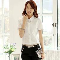Korean Hot Selling White Profession Blusa Women's Bodycon Quality Button Cotton Formal Blouse Brief Work Shirts 2758