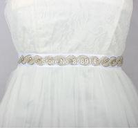 Hot Selling Vintage Rhinestones Beaded Trim Bridal Sashes Wedding Dress Belt Handmade Clear Color