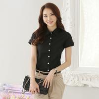 Summer Women Work Wear Short Sleeve Single Breasted Career Shirts Bodycon Brief Slim Waist Camisas Femininas Brancas 2958