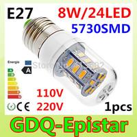 1pcs/lot New and hot selling 100-130V 200-240V 8W E27 5730SMD LED corn bulb lamp 24 LEDS Warm white /white led lighting