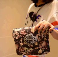 2014 New Retro Roses Oil Painting Mini Bag Sweet Lady Shoulder Bag Women Clutch Bag Small Bag Black