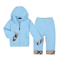 New 2014 100% Cotton Brand  Autumn Children Blue Clothing set Kids Casual suit Sports suit Boys