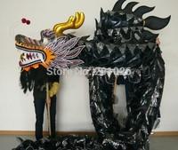 10m Length Size 3 black on body  yellow  Chinese DRAGON DANCE ORIGINAL Dragon Chinese Folk Festival Celebration Costume