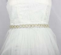 Luxury Imitation Pearl Beaded Trim Bridal Sashes With Glass STone Button Wedding Dress Belt Handmade