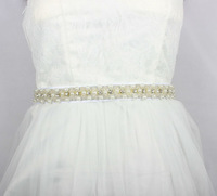 Luxury Imitation Pearl Beaded Trim Bridal Sashes With Glass STone Button Wedding Dress Belt Handmade