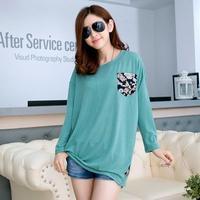 Loose Plus Size Batwing Sleeve Flase 2Piece Long Pullovers Korean Street Casual Pockets Print Camisa Feminina 8860