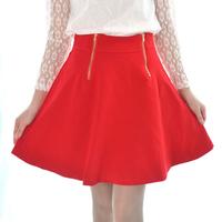 2014 Autumn Winter Lolita Style Cute Cotton A-Line Mini Skirt Bodycon High  Wiaste Pure Color Double Zippers Saia Rodada 8259