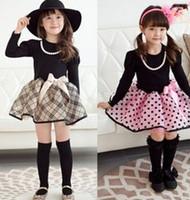 Top On Top wholesale  New 2014  fall Fashion Elegant girls dress plaid polka dot print princess dress with necklace  LFR0270068M