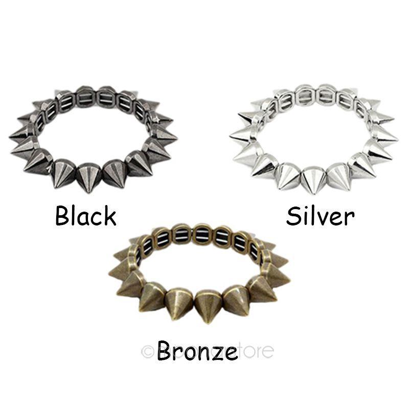 2014 New Fashion Hot Selling Vintage Exaggeration Punk Spike Bracelet Rivets Elastic Bracelet ZMPJ280(China (Mainland))