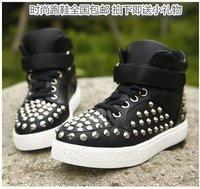 Size26-36 The Autumn Of 2014 New Korean High Help Rivet Velcro Child PU Leisure Sport Shoes 565