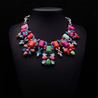 2014 Statement Choker shourouk Necklace Brand ZA Vintage Jewelry Flower Bib Multicolor Fashion Necklaces & Pendant Women Collar