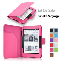 Kindle Voyage case book style folio leather case cover for Amazon Kindle Voyage 6 inch E-reader 50pcs/lot 11 colors free ship
