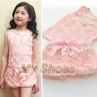 Top Sale 2014 New Arrival Children Girl Summer Clothing Set Baby Girls Pink Floral Vest + Pants Suit SV006053 3F