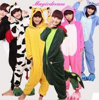 Unisex Adult Flannel Pajamas Sets Cosplay Costumes Cartoon Animal Onesie footie Pyjama Coral Fleece Sleepwear Suit Pikachu/Tiger